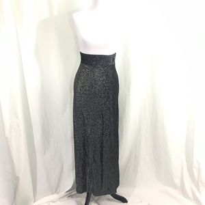 70s High Waisted Silver Black Disco Maxi Skirt XS
